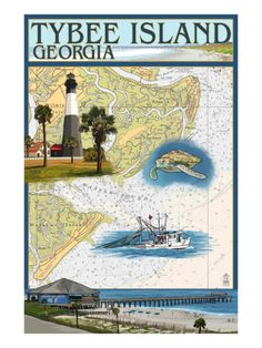 Tybee Island, Georgia - Nautical Chart Art Print - One of our favorite places and spaces.
