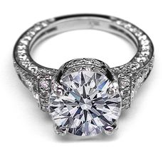 Large Round Diamond Cathedral Graduated pave Engagement Ring