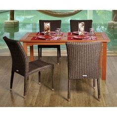 Amazonia BT Brugge Rectangular 5 Piece Patio Dining Set by International Home Miami. $963.30. Belongs to Brugge Collection. Includes 1 Table and 4 High-back Chairs. Solid Eucalyptus wood, aluminum and synthetic wicker chairs. Wood color: Brown / Wicker color: Grey/Beige. Great functionality. What is included:Table (1)Chair (4) Great Quality, elegant design patio set, made of solid eucalyptus wood, aluminum and synthetic wicker. FSC (Forest Stewardship Council) certified. Enjoy...