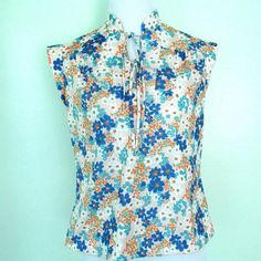 1970's Vintage Floral Shirt Mandarin Collar by ChinaCatVintage