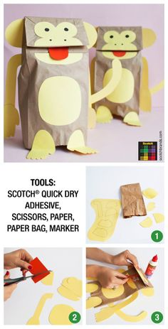 Project 135: Paper Bag Monkey Puppets #kids #craft