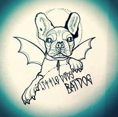 batdog frenchie french bulldog halloween tattoo design @kshocs (instagram)