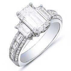 4.23 Ct. Emerald Cut, Baguette & Round Diamond Engagement Ring G,VS1 EGL - Emerald Cut & Baguette Diamond Engagement Ring