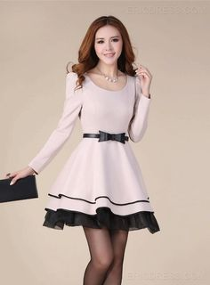 Amazing OL Style Bow Knot Puff Long Sleeves Bubble Sweet Korean Princess Dress So ladylike! Cheap Dresses, Day Dresses, Short Dresses, Dresses Online, Junior Formal Dresses, Casual Dresses For Women, Dress Casual, Classy Dress, Vestidos Country