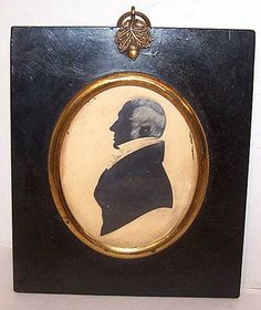Antique Silhouette of Woman With Outstanding Embellishment by H.A  (This certainly looks like a gentleman to me?)