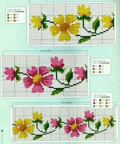 Free Cross Stitch Patterns - Three separate patterns: One Vine With Yellow Flowers with Gold Centers, Another Vine with Both Colors