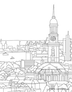 hamburger-michel-und-hafen-qn6 City Sketch, Train Activities, Future Jobs, Famous Places, Colouring Pages, Clipart, Adult Coloring, Hamburg, Sketches
