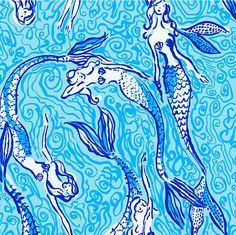 The Lilly Pulitzer mermaid print is about as beachy as it gets. Lilly Pulitzer Patterns, Lilly Pulitzer Prints, Lily Pulitzer Painting, Lily Pulitzer Wallpaper, Monogram Wallpaper, Cooler Painting, Pretty Patterns, Wallpaper Backgrounds, Os Wallpaper