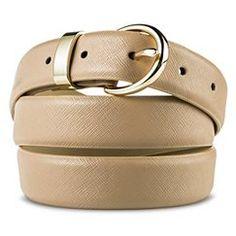 Women's Beige Textured Belt - M