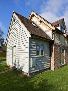 Worcestershire Cottage - Border Oak - oak framed houses, oak framed garages and structures. Bungalow Extensions, House Extensions, House Cladding, Oak Cladding, Cladding Ideas, Wooden Cladding, Dulux Exterior Paint Colours, Border Oak, Cottage Front Doors