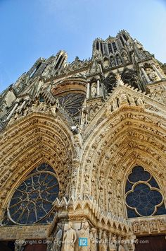 Sculptures above a door into the Rouen Cathedral, France ...