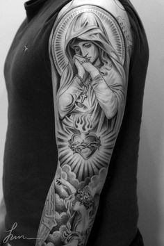 Beautiful tatoo maria and sacred heart