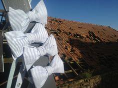 Noeud papillon Lignes Bleu ciel, Pale Blue Pin Striped Bow Tie