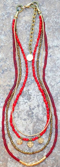 Holiday Inspired Long Red Glass, Bronze and Gold Charm Necklace