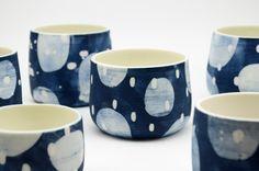 Wheel thrown, hand painted porcelain