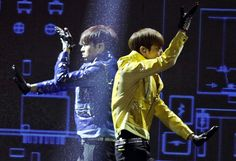 Yunho and Changmin of South Korean boy band TVXQ perform at a Kpop festival