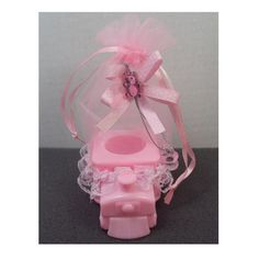 Lace Decorated Pink Choo Choo Train Organza Bag Baby Shower Gift Favor Game Prize Holder Decoration