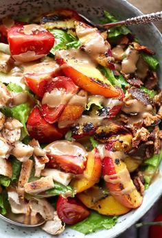 Grilled Nectarine & Chicken BLT Salad with Creamy Balsamic Dressing ...