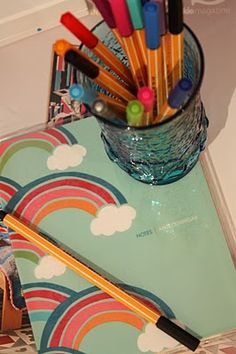Kikki K notebook, along with my favourite pens, Stabilo point 88's in a vintage blue vase.