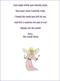 Free customizable Tooth Fairy letters! Opens in Word so you can type any message you want.