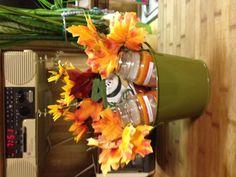 Fun fall gift basket! $6 dollars to make it. Dollar tree + hot glue gun!