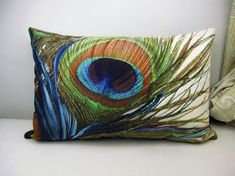 PROMOTION Velvet Pillow Cover Peacock feather от WhooplaArt