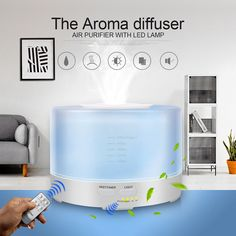 Essentials Aromatherapy Oil Diffuser Air Aroma 500ml Humidifier Mist Maker with 7 Colors LED Light Remote Control Ultrasonic Atomizer for Office Home Living Room Bedroom Nursery White, 500ml