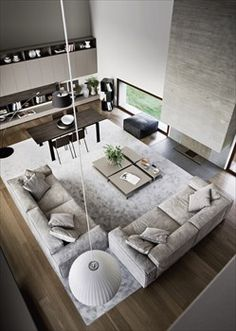 Assuredly, large living room idea, don't you think? Let us know what do you think concerning this living room design! Take a look at the board and let you exciting Living Room Interior, Home Living Room, Living Room Designs, Living Room Decor, Interior Livingroom, Open Space Living, Living Spaces, Living Room Inspiration, Interior Inspiration