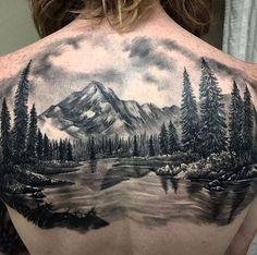 Image result for landscape upper back tattoo