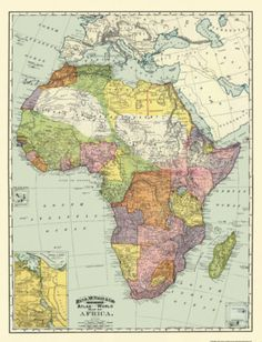 MAP OF AFRICA BY RAND MCNALLY 1897 MOTP