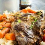 Serving platter with Sauerbraten Pot Roast on a plate with spaetzel and carrots Gourmet Recipes, Vegetarian Recipes, Healthy Recipes, German Sauerbraten Recipe, Oktoberfest Food, Vegetable Prep, Oven Dishes