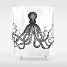 Antique Nautical Steampunk Octopus Vintage Victorian Kraken sea monster emo goth drawing Shower Curtain