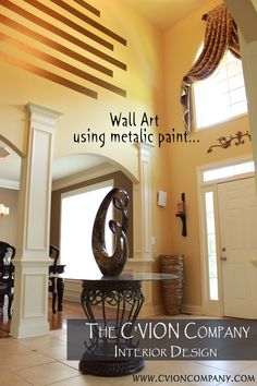Wall Art using Metalic Paint. Interior Design Photos, Oversized Mirror, Spaces, Wall Art, Metal, Crafts, Painting, Furniture, Home Decor