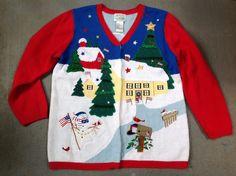Quacker Factory Christmas Sweater Large Patriotic Village Cardigan V-neck Red #QuackerFactory #Cardigan