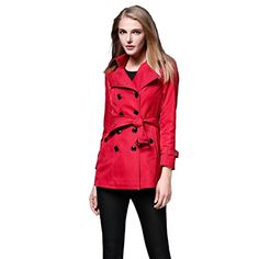 Saprex Women Windbreak Double Breasted Trench Coats Red Size XXL * Visit the image link more details.