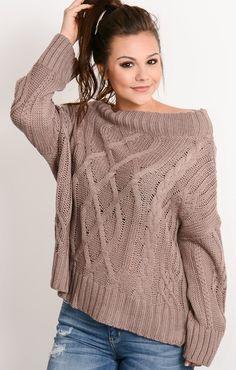 Mauve Cable Knit Off Shoulder Sweater