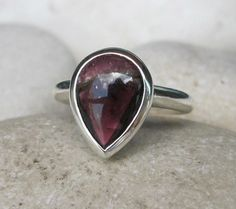Pear Shaped Tourmaline Ring Unique Engagement Ring by Belesas