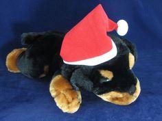 Snuggie Toy Black Brown Plush Stuffed Puppy Dog w Santa Hat EUC Animal Cute #Snuggie