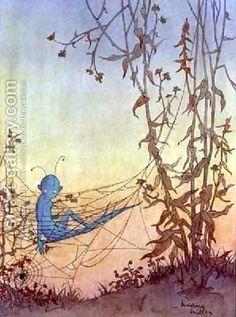 Cobwebs Are Really Fairies Hammocks 1928 - Marjorie Miller reproductions Cs Lewis, Fairy Land, Fairy Tales, Web Gallery, Vintage Artwork, Vintage Illustrations, Fairytale Art, Art Et Illustration, Oil Painting Reproductions