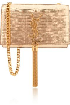 SAINT LAURENT Monogramme small metallic lizard-effect leather shoulder bag