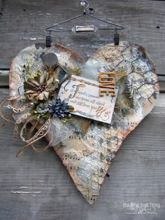 mixed media heart collage by lynne forsythe