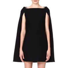 VALENTINO Cape-sleeved wool-blend dress (£1,560) ❤ liked on Polyvore featuring dresses, black, straight dress, sleeved dresses, sleeveless dress, zipper dress and no sleeve dress