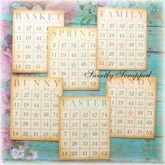 These fun bingo cards measure approx 3 inches by 4 inches. They are created on cream cardstock and then I hand aged the edges to give them a