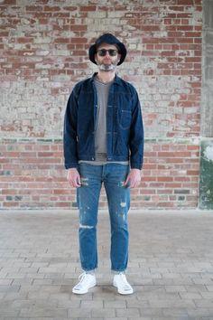 f96411d1f09c Worn in blue denim, indigo dyed chore work jacket, white converse jack  purcells,