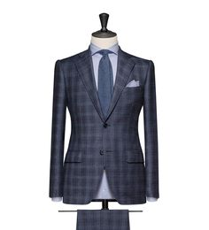 This cloth is a Dark Blue Glencheck. Cloth Weight: 250g Composition: 95% Wool and 5% Cashmere