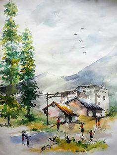 Watercolor Scenery, Watercolor Wallpaper, Watercolor Landscape Paintings, Watercolor Portraits, Watercolour, Scenery Paintings, Indian Art Paintings, Basic Painting, Landscape Sketch