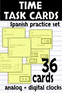 Reinforce telling time with this task card set! Analog and digital clocks, multiple choice, correct the error, writing numbers, you name it! Everything your students need to master telling time in Spanish.
