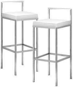 "Set of 2 Zuo Industry White 30"" High Bar Stool eurostylelighting.com"