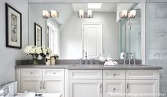 Love this bathroom from Evelyn Eshun. The lighting is great. Check out more lighting trends in this blog post or download our free Beautiful Design Made Simple digital magazine at BeautifulDesignMadeSimple.com