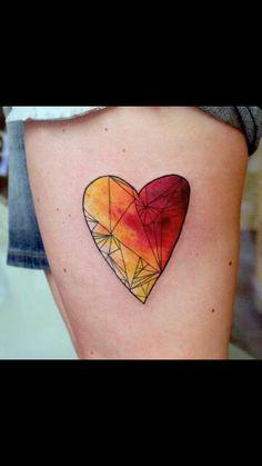 Watercolour Geometric Heart Tattoo